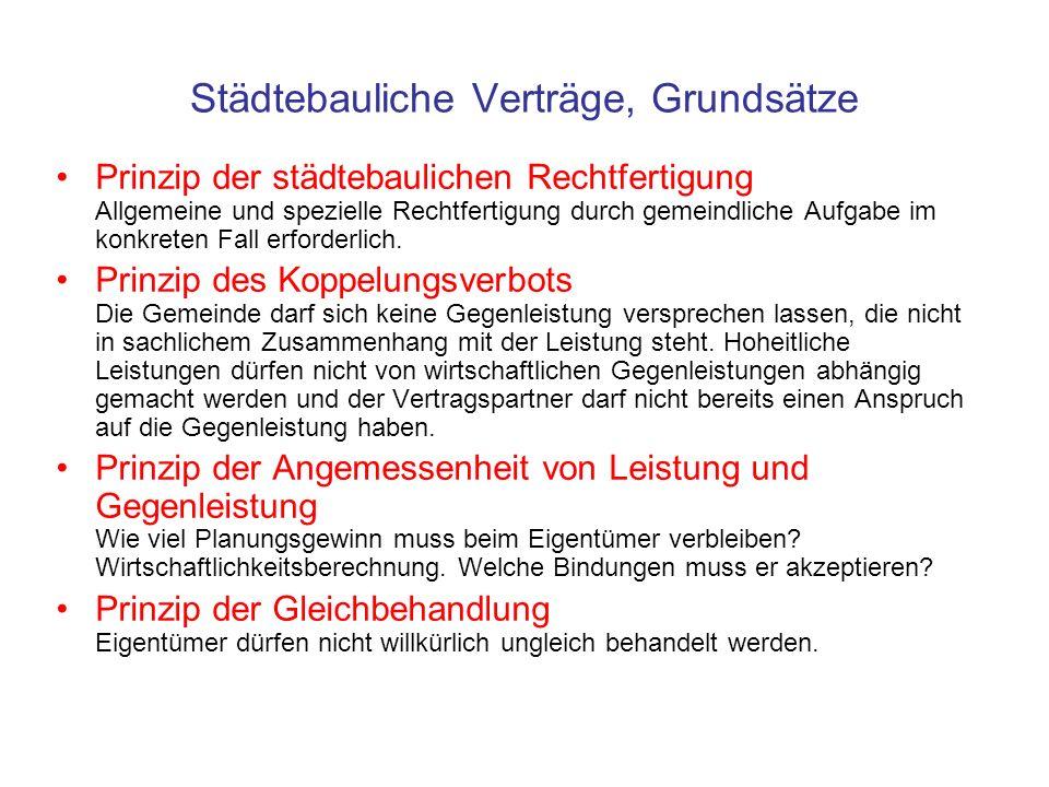 Städtebauliche Verträge, Grundsätze Prinzip der städtebaulichen Rechtfertigung Allgemeine und spezielle Rechtfertigung durch gemeindliche Aufgabe im k