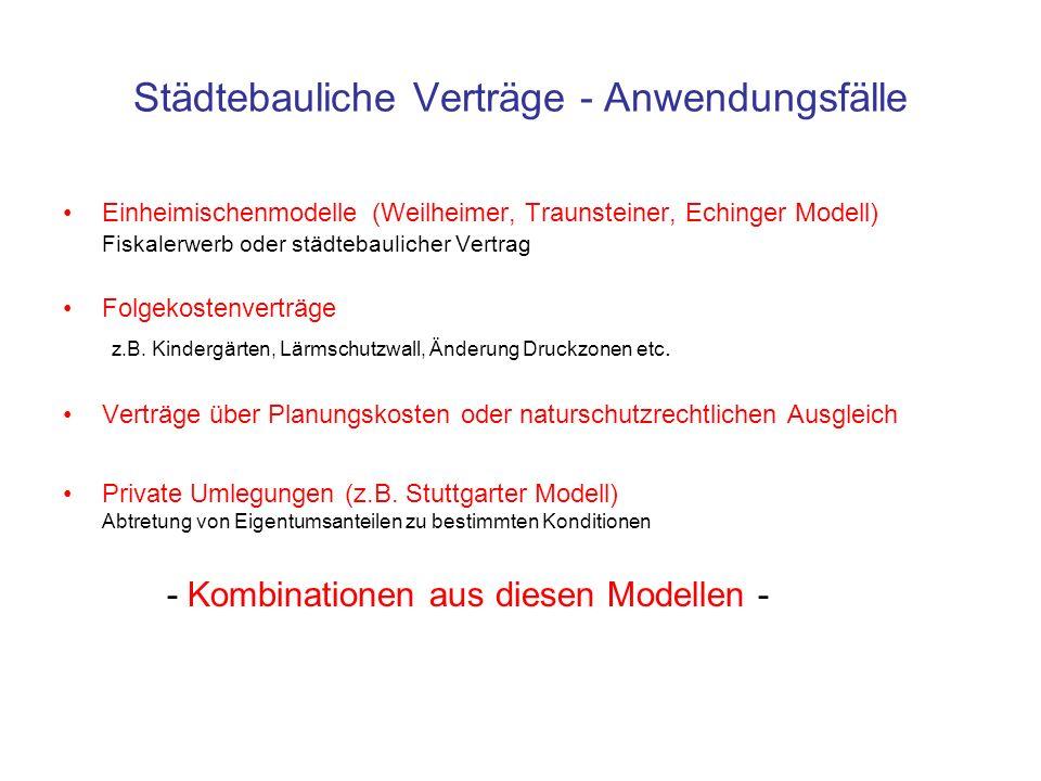 Städtebauliche Verträge - Anwendungsfälle Einheimischenmodelle (Weilheimer, Traunsteiner, Echinger Modell) Fiskalerwerb oder städtebaulicher Vertrag F