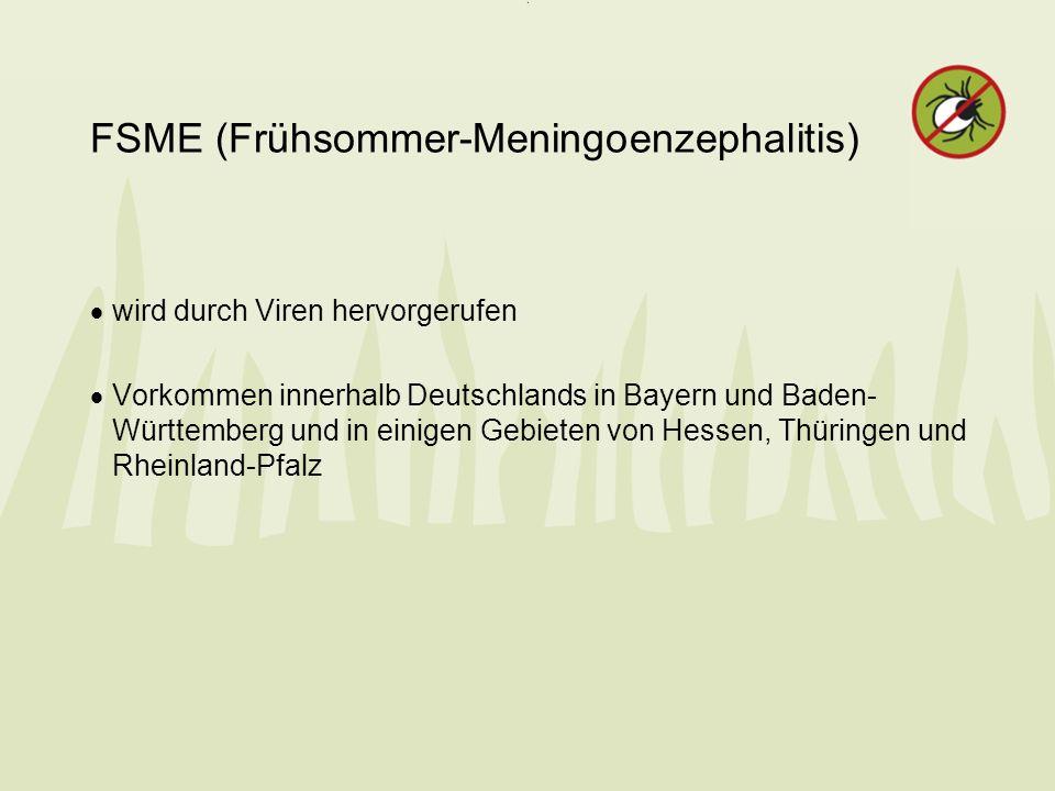 FSME (Frühsommer-Meningoenzephalitis) wird durch Viren hervorgerufen Vorkommen innerhalb Deutschlands in Bayern und Baden- Württemberg und in einigen