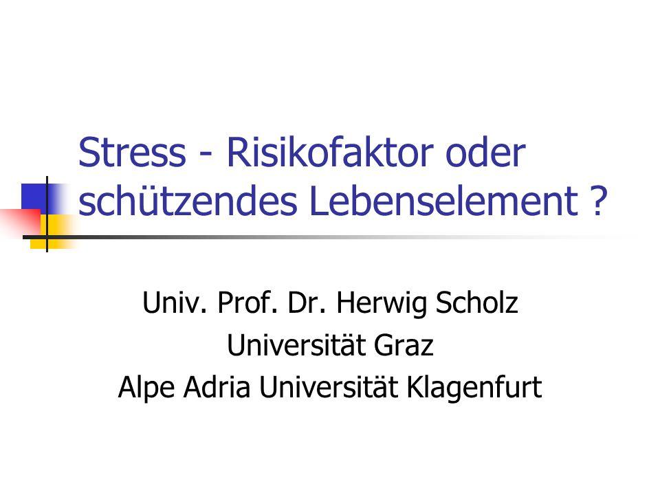 Agenda für eine realistischere Sicht der Stressproblematik Funktion und Biologie der Stressreaktion Die Stressvarianten, chronischer Stress Auslöser, begünstigende Faktoren speziell Störungen der Selbstregulierung Realistische Konzepte Therapie/Prävention Stressregulierung durch Selbstregulation