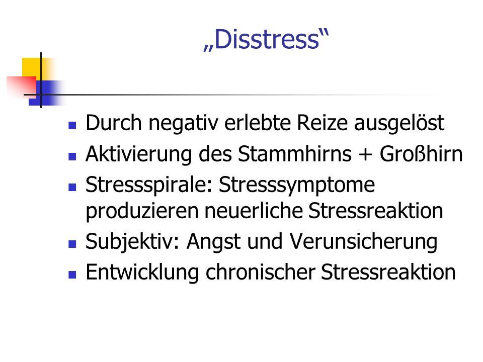 Disstress Durch negativ erlebte Reize ausgelöst Aktivierung des Stammhirns + Großhirn Stressspirale: Stresssymptome produzieren neuerliche Stressreakt