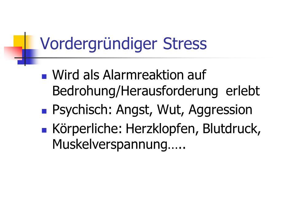 Vordergründiger Stress Wird als Alarmreaktion auf Bedrohung/Herausforderung erlebt Psychisch: Angst, Wut, Aggression Körperliche: Herzklopfen, Blutdru