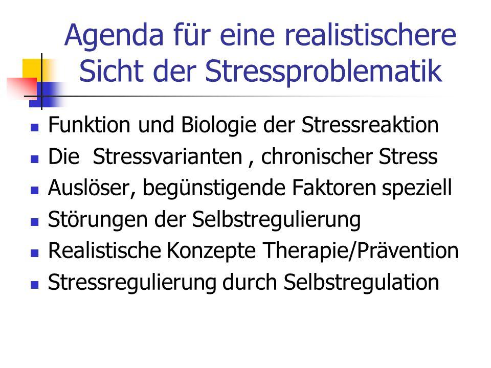 Agenda für eine realistischere Sicht der Stressproblematik Funktion und Biologie der Stressreaktion Die Stressvarianten, chronischer Stress Auslöser,
