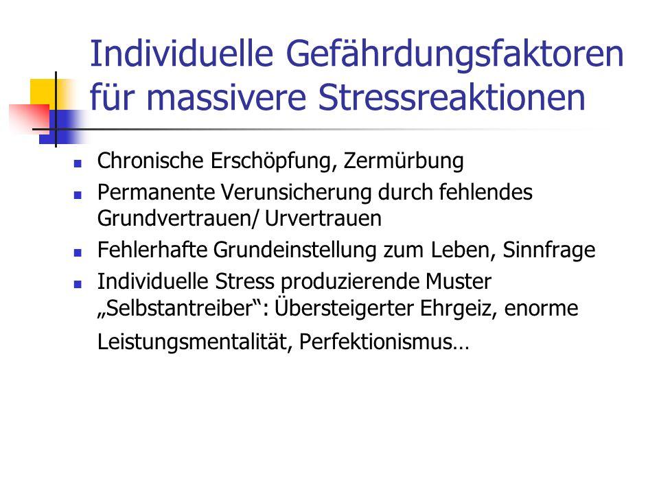 Individuelle Gefährdungsfaktoren für massivere Stressreaktionen Chronische Erschöpfung, Zermürbung Permanente Verunsicherung durch fehlendes Grundvert