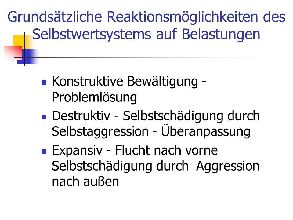 Grundsätzliche Reaktionsmöglichkeiten des Selbstwertsystems auf Belastungen Konstruktive Bewältigung - Problemlösung Destruktiv - Selbstschädigung dur