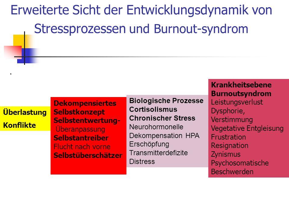 Erweiterte Sicht der Entwicklungsdynamik von Stressprozessen und Burnout-syndrom. Dekompensiertes Selbstkonzept Selbstentwertung- Überanpassung Selbst