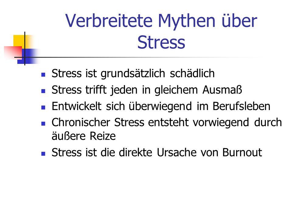 Verbreitete Mythen über Stress Stress ist grundsätzlich schädlich Stress trifft jeden in gleichem Ausmaß Entwickelt sich überwiegend im Berufsleben Ch