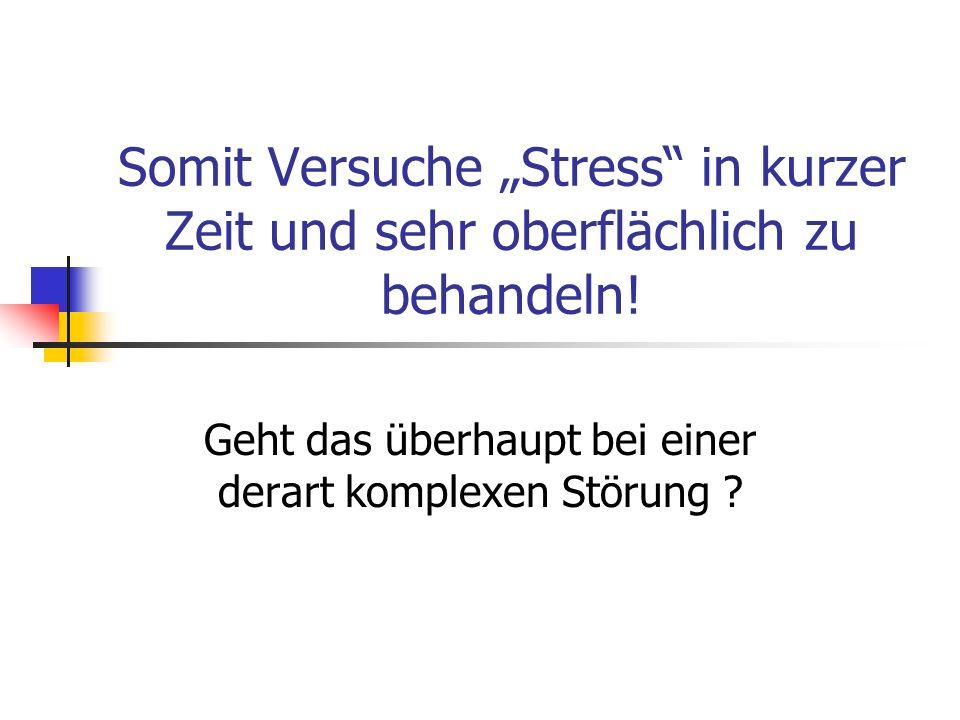 Somit Versuche Stress in kurzer Zeit und sehr oberflächlich zu behandeln! Geht das überhaupt bei einer derart komplexen Störung ?