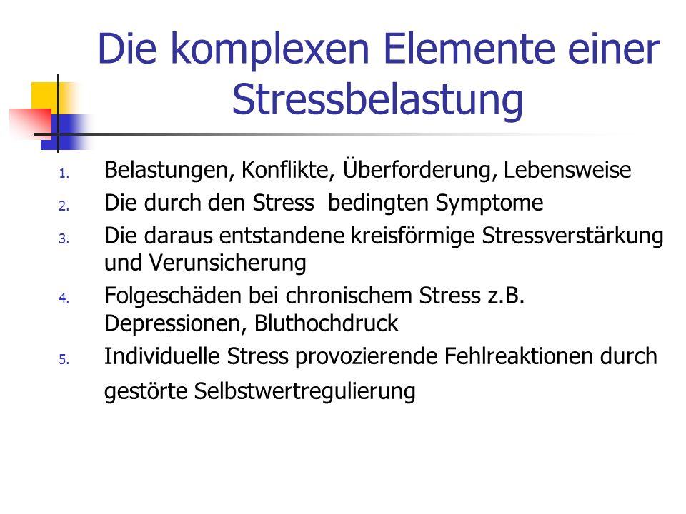 Die komplexen Elemente einer Stressbelastung 1. Belastungen, Konflikte, Überforderung, Lebensweise 2. Die durch den Stress bedingten Symptome 3. Die d