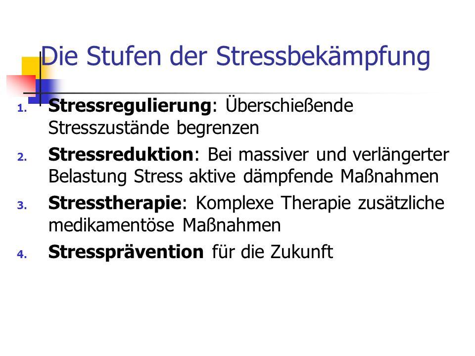 Die Stufen der Stressbekämpfung 1. Stressregulierung: Überschießende Stresszustände begrenzen 2. Stressreduktion: Bei massiver und verlängerter Belast