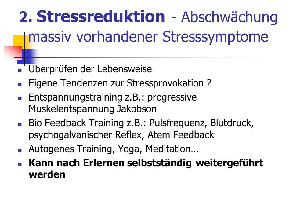2. Stressreduktion - Abschwächung massiv vorhandener Stresssymptome Überprüfen der Lebensweise Eigene Tendenzen zur Stressprovokation ? Entspannungstr