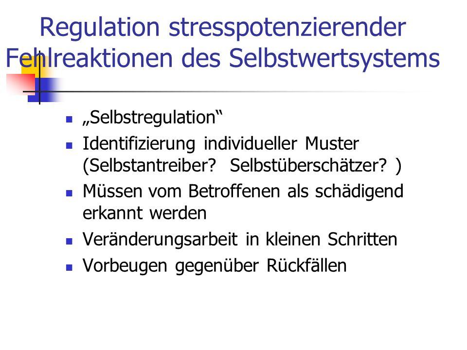 Regulation stresspotenzierender Fehlreaktionen des Selbstwertsystems Selbstregulation Identifizierung individueller Muster (Selbstantreiber? Selbstübe