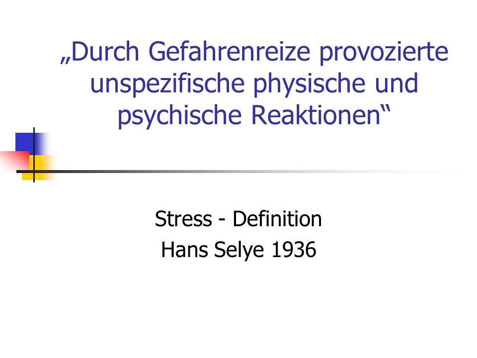 Hintergründiger Stress Subjektiv kaum Wahrnehmung der Stressreaktion Oft kompensiert durch Leistung, Rückzug, Selbstaggression Dennoch im Hintergrund körperliche Aktivierungssymptome durch Stress Immer Risiko chronischer Stressbelastung