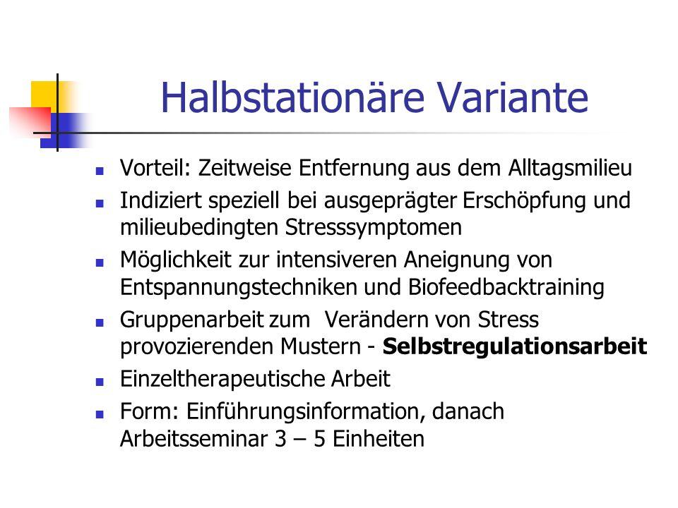 Halbstationäre Variante Vorteil: Zeitweise Entfernung aus dem Alltagsmilieu Indiziert speziell bei ausgeprägter Erschöpfung und milieubedingten Stress