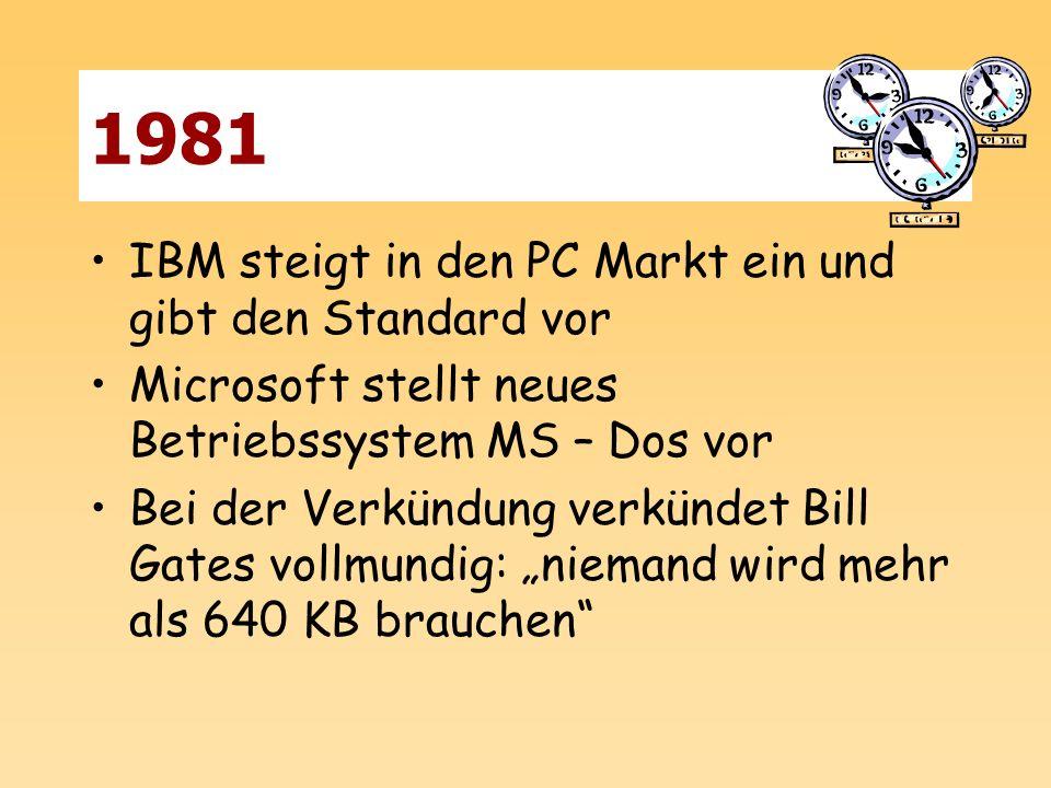 1981 IBM steigt in den PC Markt ein und gibt den Standard vor Microsoft stellt neues Betriebssystem MS – Dos vor Bei der Verkündung verkündet Bill Gat