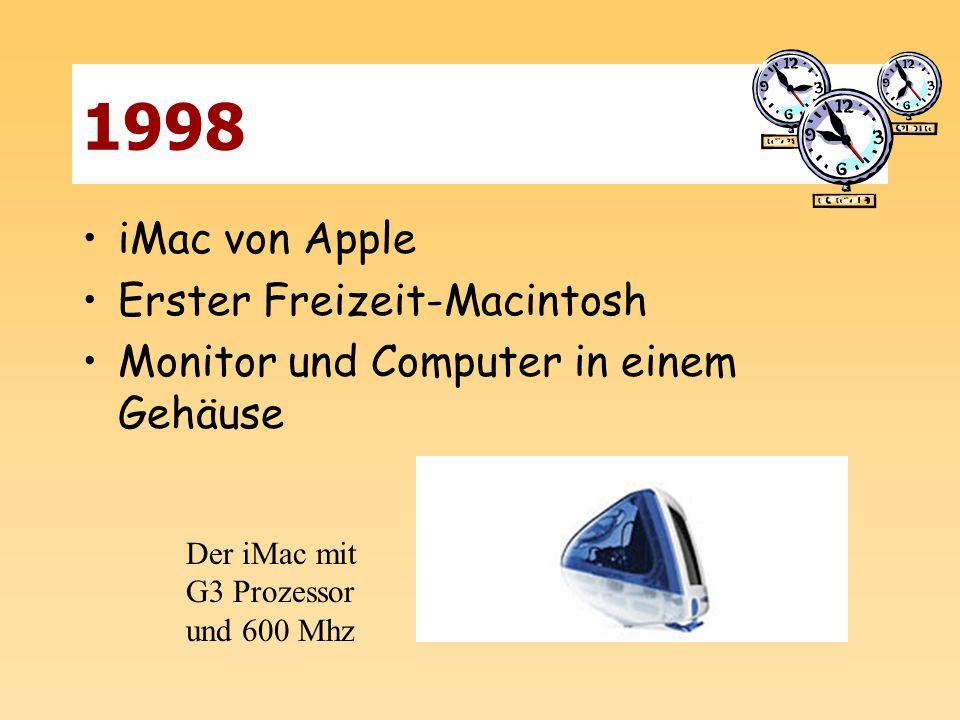 1998 iMac von Apple Erster Freizeit-Macintosh Monitor und Computer in einem Gehäuse Der iMac mit G3 Prozessor und 600 Mhz