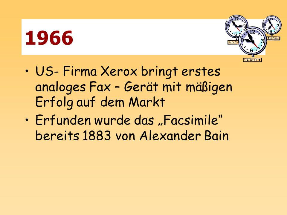1966 US- Firma Xerox bringt erstes analoges Fax – Gerät mit mäßigen Erfolg auf dem Markt Erfunden wurde das Facsimile bereits 1883 von Alexander Bain