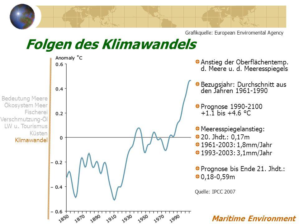Anstieg der Oberflächentemp.d. Meere u. d.