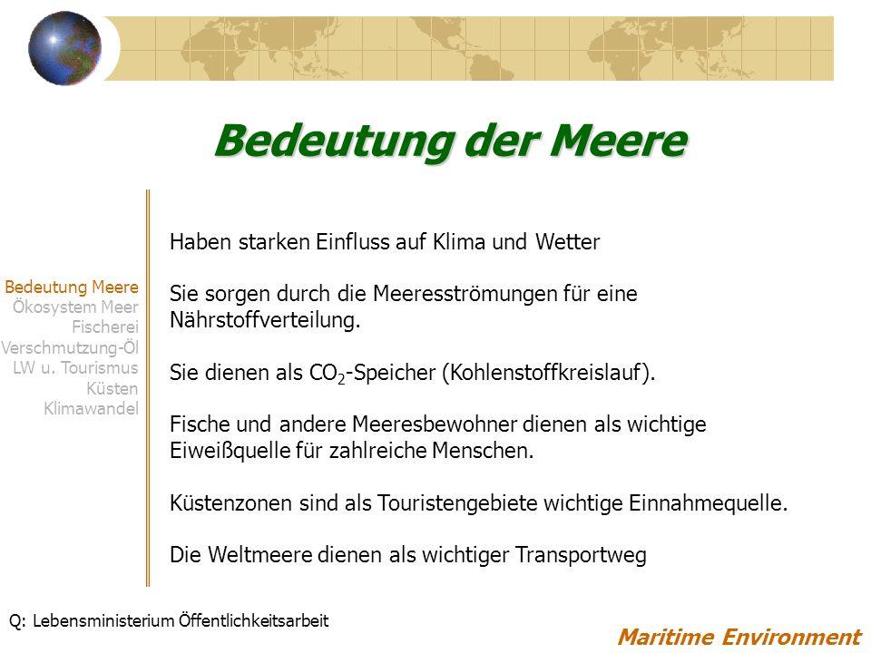 Herausforderungen Datenmangel um Vergleiche zwischen den Meeren darzustellen Schwarzes Meer, Kaspisches in schlechterem Zustand als westliche Meere Ölimmissionen durch Schifffahrt entlang der Hauptrouten Wenig Kontrolle von Verschmutzung in EECCA-Ländern Erdölproduktion und –transport wird in diesen Ländern sehr stark ansteigen Kompensation des erhöhten Inlandfrachtverkehrs durch Schifffahrt (durch EU angestrebt) Nordseeroute wird bei zunehmender Eisschmelze als Alternative nutzbar Maritime Environment Bedeutung Meere Ökosystem Meer Fischerei Verschmutzung-Öl LW u.