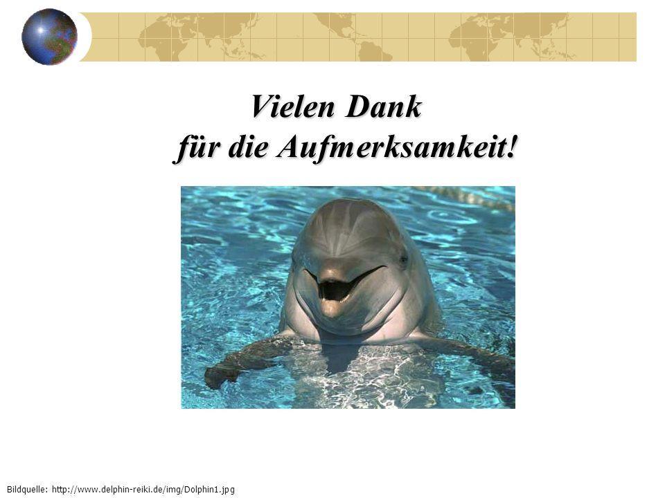 Vielen Dank für die Aufmerksamkeit! Bildquelle: http://www.delphin-reiki.de/img/Dolphin1.jpg