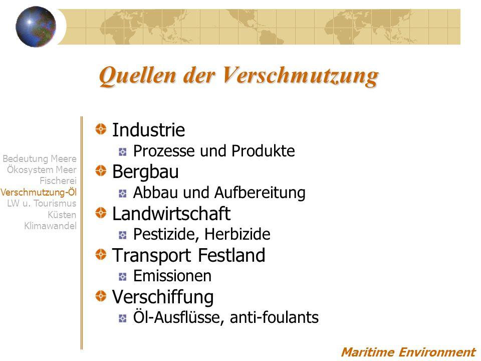 Quellen der Verschmutzung Industrie Prozesse und Produkte Bergbau Abbau und Aufbereitung Landwirtschaft Pestizide, Herbizide Transport Festland Emissionen Verschiffung Öl-Ausflüsse, anti-foulants Maritime Environment Bedeutung Meere Ökosystem Meer Fischerei Verschmutzung-Öl LW u.