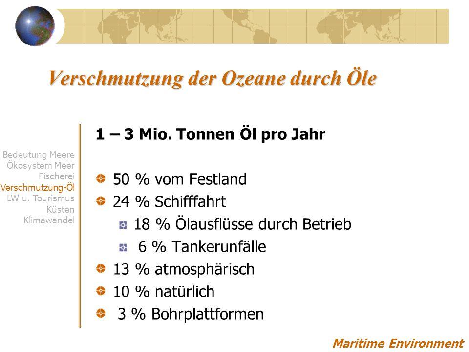 Tankerunglücke Maritime Environment Quelle: European Enviromental Agency Bedeutung Meere Ökosystem Meer Fischerei Verschmutzung-Öl LW u.