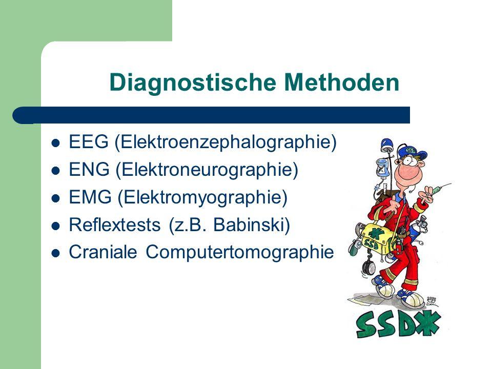 Diagnostische Methoden EEG (Elektroenzephalographie) ENG (Elektroneurographie) EMG (Elektromyographie) Reflextests (z.B. Babinski) Craniale Computerto