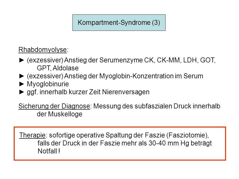 Kompartment-Syndrome (3) Rhabdomyolyse: (exzessiver) Anstieg der Serumenzyme CK, CK-MM, LDH, GOT, GPT, Aldolase (exzessiver) Anstieg der Myoglobin-Kon