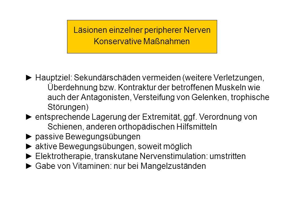 Läsionen einzelner peripherer Nerven Konservative Maßnahmen Hauptziel: Sekundärschäden vermeiden (weitere Verletzungen, Überdehnung bzw. Kontraktur de