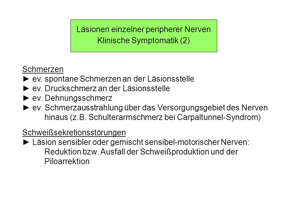 Läsionen einzelner peripherer Nerven Klinische Symptomatik (2) Schmerzen ev. spontane Schmerzen an der Läsionsstelle ev. Druckschmerz an der Läsionsst