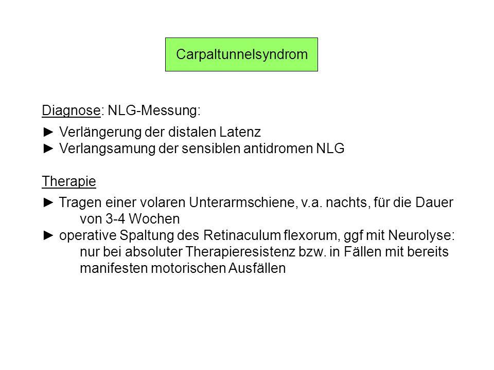 Carpaltunnelsyndrom Diagnose: NLG-Messung: Verlängerung der distalen Latenz Verlangsamung der sensiblen antidromen NLG Therapie Tragen einer volaren U