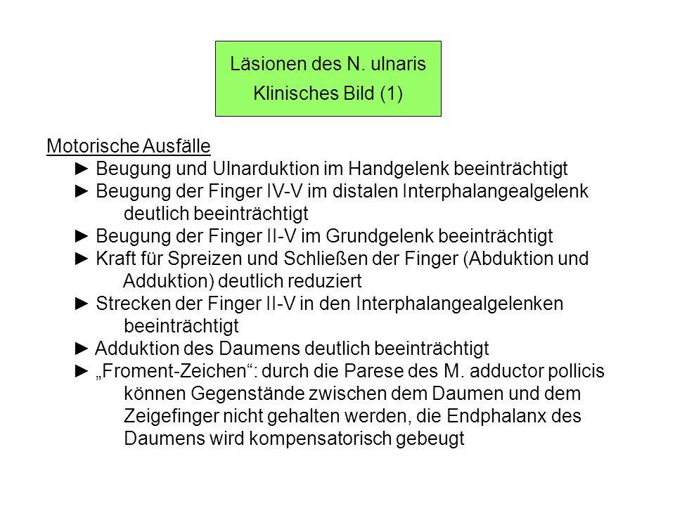 Läsionen des N. ulnaris Klinisches Bild (1) Motorische Ausfälle Beugung und Ulnarduktion im Handgelenk beeinträchtigt Beugung der Finger IV-V im dista
