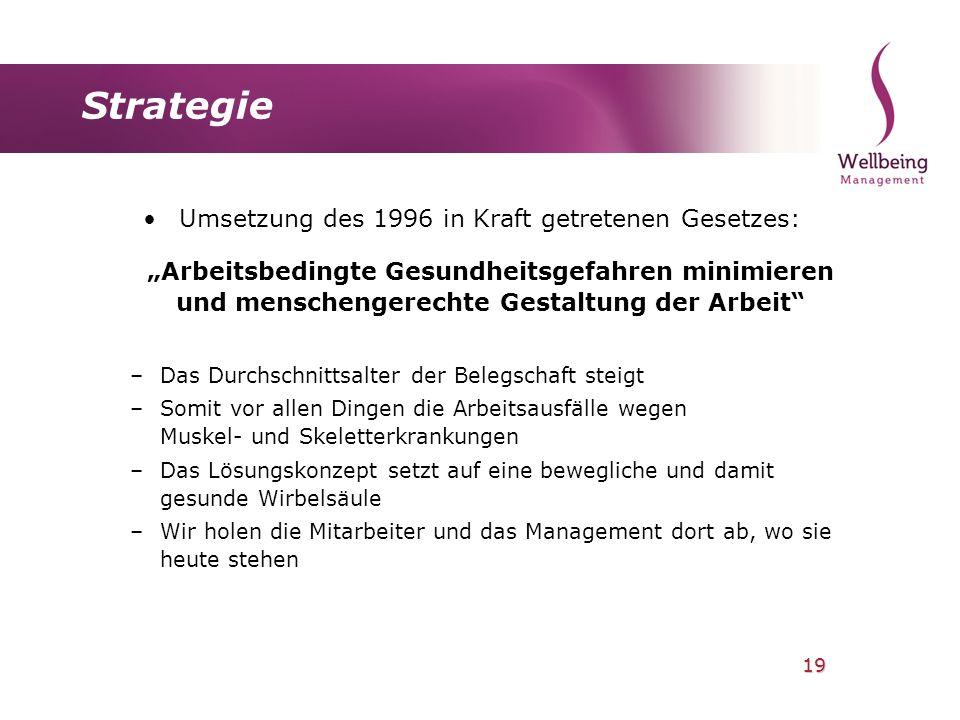 19 Strategie Umsetzung des 1996 in Kraft getretenen Gesetzes: Arbeitsbedingte Gesundheitsgefahren minimieren und menschengerechte Gestaltung der Arbei