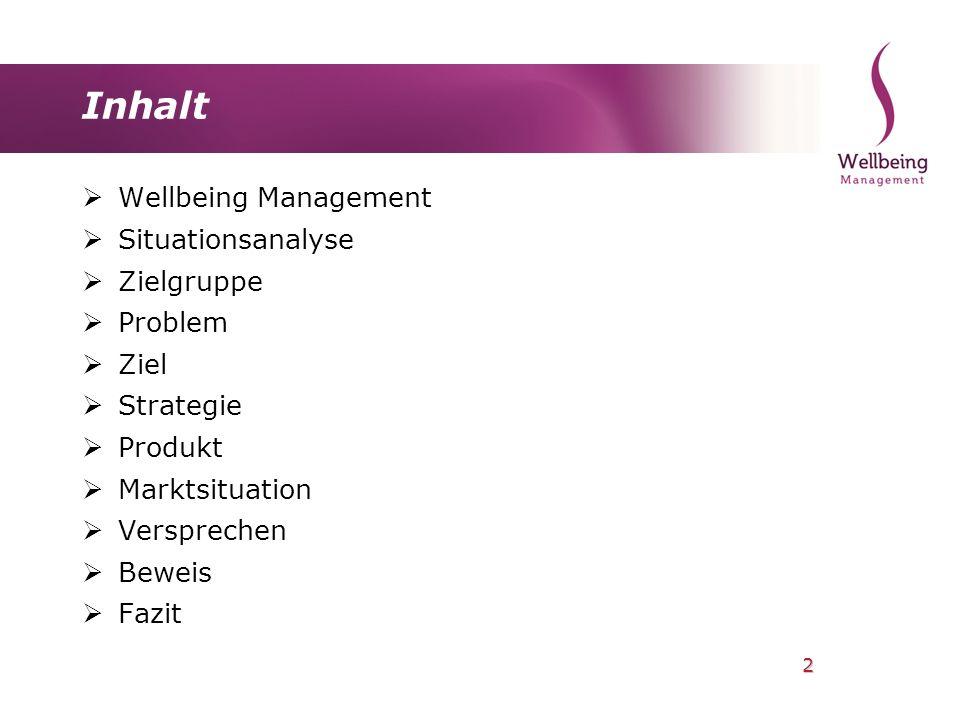 2 Inhalt Wellbeing Management Situationsanalyse Zielgruppe Problem Ziel Strategie Produkt Marktsituation Versprechen Beweis Fazit