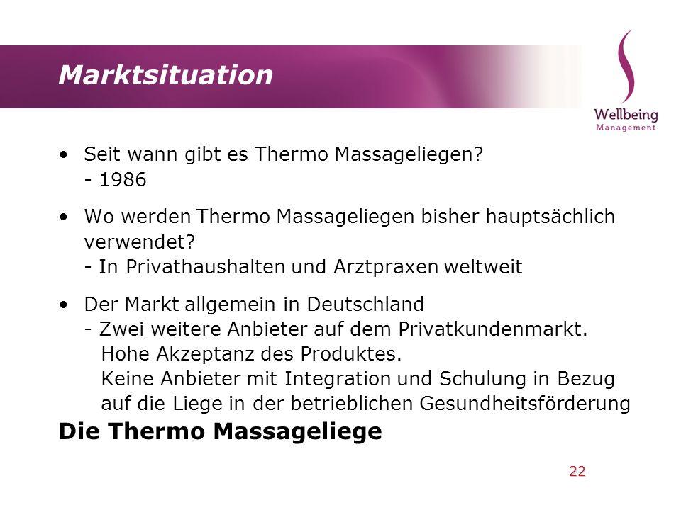 22 Marktsituation Seit wann gibt es Thermo Massageliegen? - 1986 Wo werden Thermo Massageliegen bisher hauptsächlich verwendet? - In Privathaushalten
