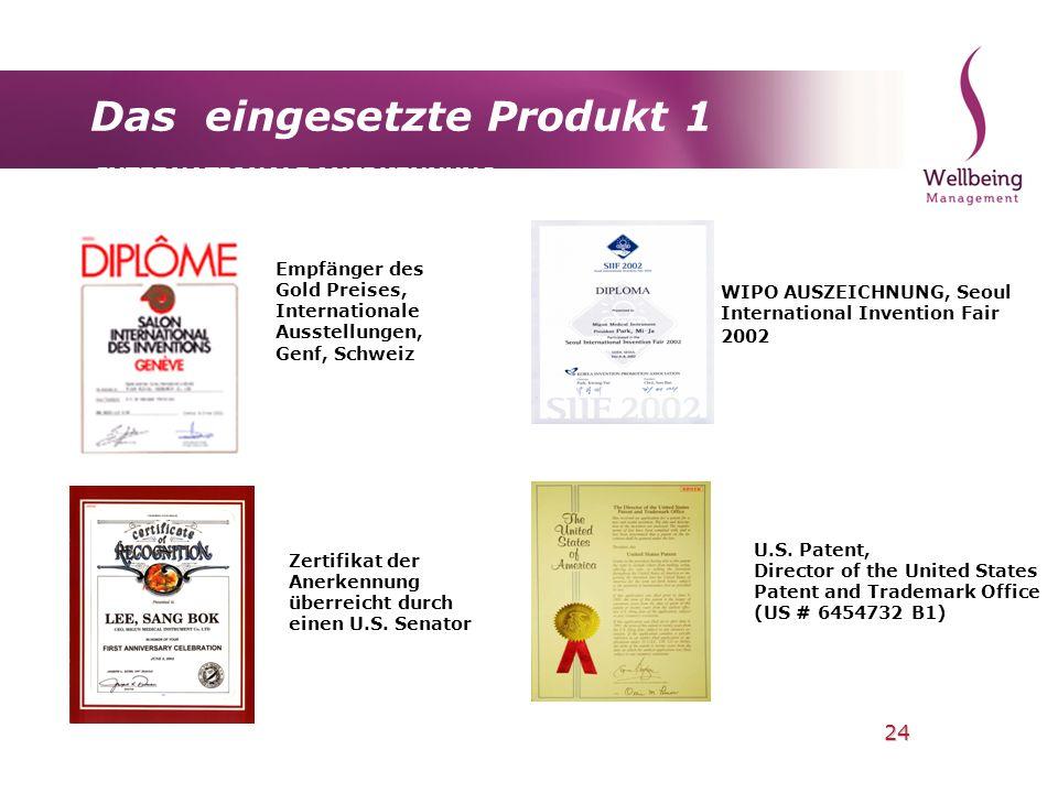 24 Das eingesetzte Produkt 1 INTERNATIONALE ANERKENNUNG Empfänger des Gold Preises, Internationale Ausstellungen, Genf, Schweiz WIPO AUSZEICHNUNG, Seo