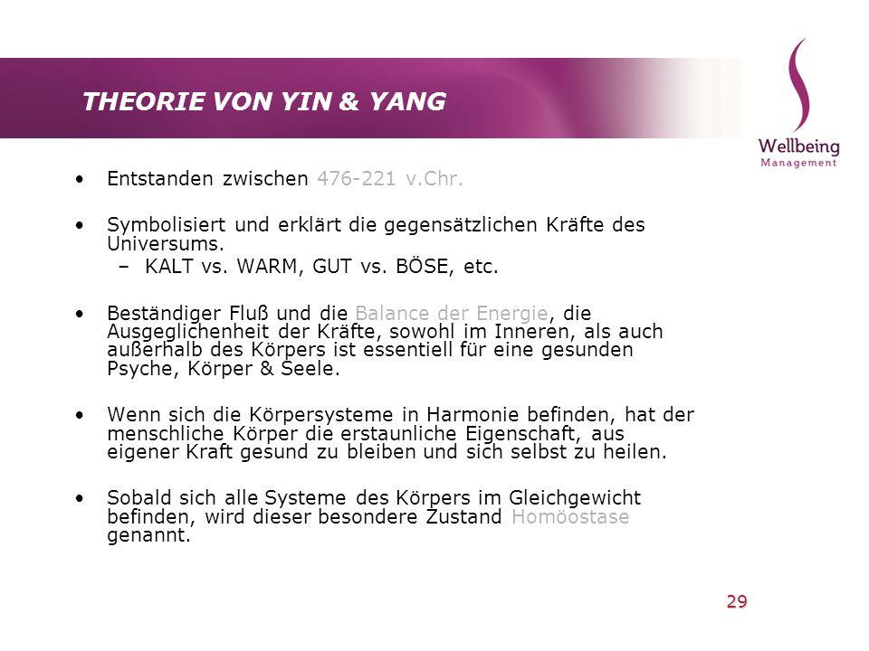 29 THEORIE VON YIN & YANG Entstanden zwischen 476-221 v.Chr. Symbolisiert und erklärt die gegensätzlichen Kräfte des Universums. –KALT vs. WARM, GUT v