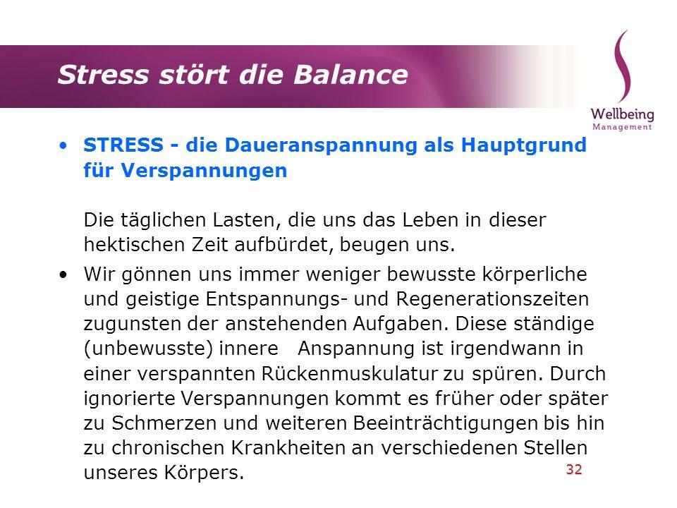 32 Stress stört die Balance STRESS - die Daueranspannung als Hauptgrund für Verspannungen Die täglichen Lasten, die uns das Leben in dieser hektischen