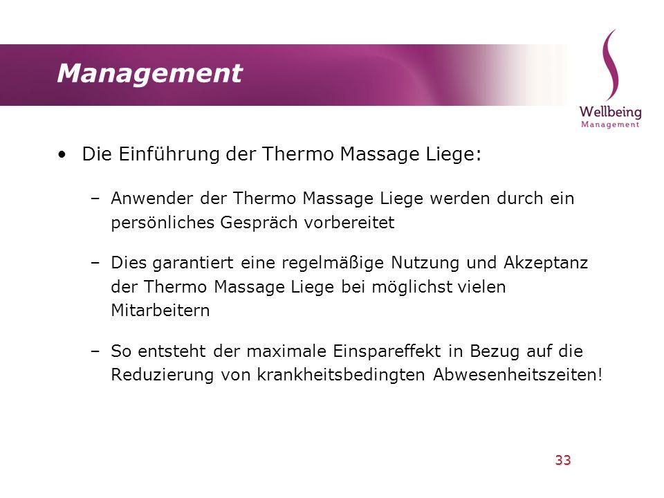33 Management Die Einführung der Thermo Massage Liege: –Anwender der Thermo Massage Liege werden durch ein persönliches Gespräch vorbereitet –Dies gar