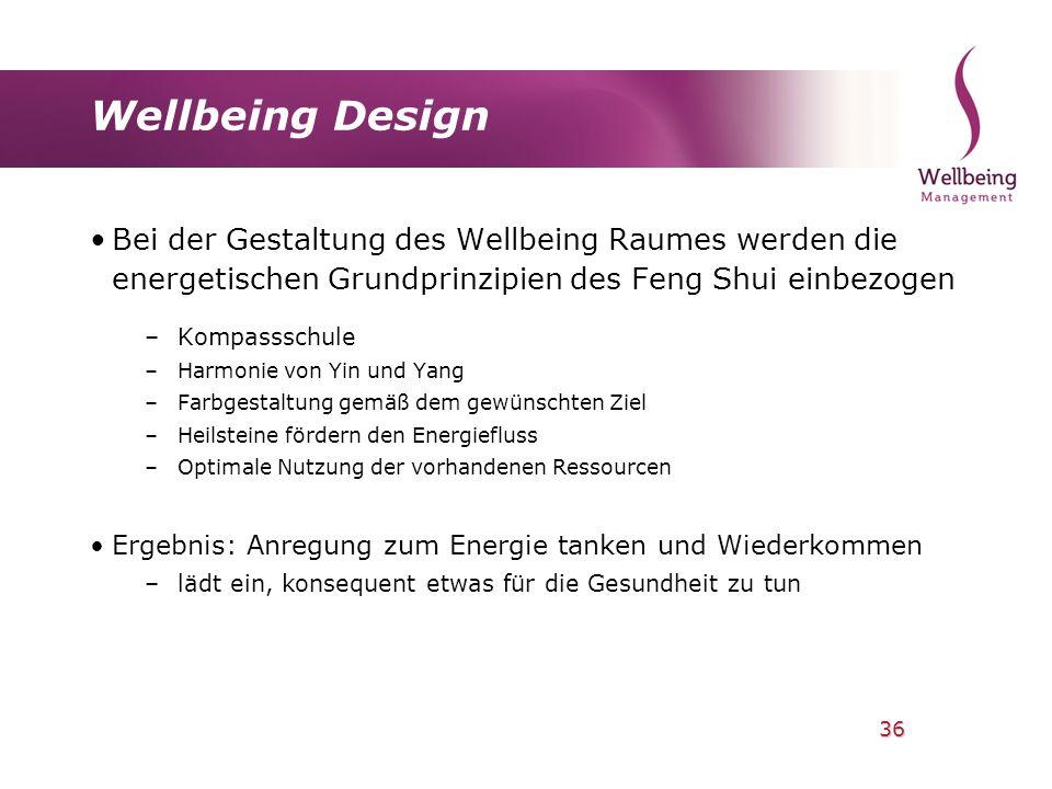 36 Wellbeing Design Bei der Gestaltung des Wellbeing Raumes werden die energetischen Grundprinzipien des Feng Shui einbezogen –Kompassschule –Harmonie