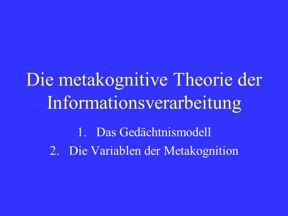 Die metakognitive Theorie der Informationsverarbeitung 1.Das Gedächtnismodell 2.Die Variablen der Metakognition