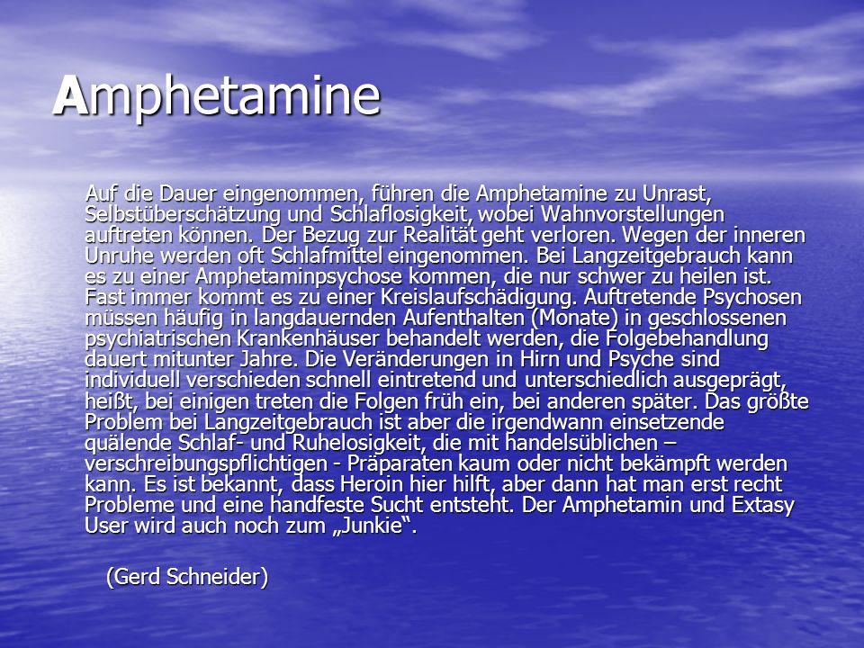 Amphetamine Auf die Dauer eingenommen, führen die Amphetamine zu Unrast, Selbstüberschätzung und Schlaflosigkeit, wobei Wahnvorstellungen auftreten kö