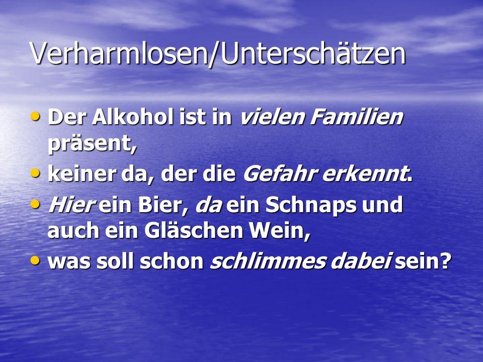 Verharmlosen/Unterschätzen Der Alkohol ist in vielen Familien präsent, Der Alkohol ist in vielen Familien präsent, keiner da, der die Gefahr erkennt.