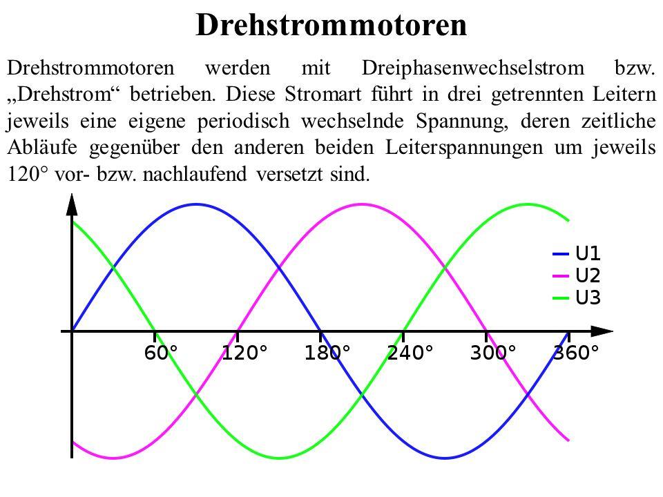 Drehstrommotoren werden mit Dreiphasenwechselstrom bzw. Drehstrom betrieben. Diese Stromart führt in drei getrennten Leitern jeweils eine eigene perio