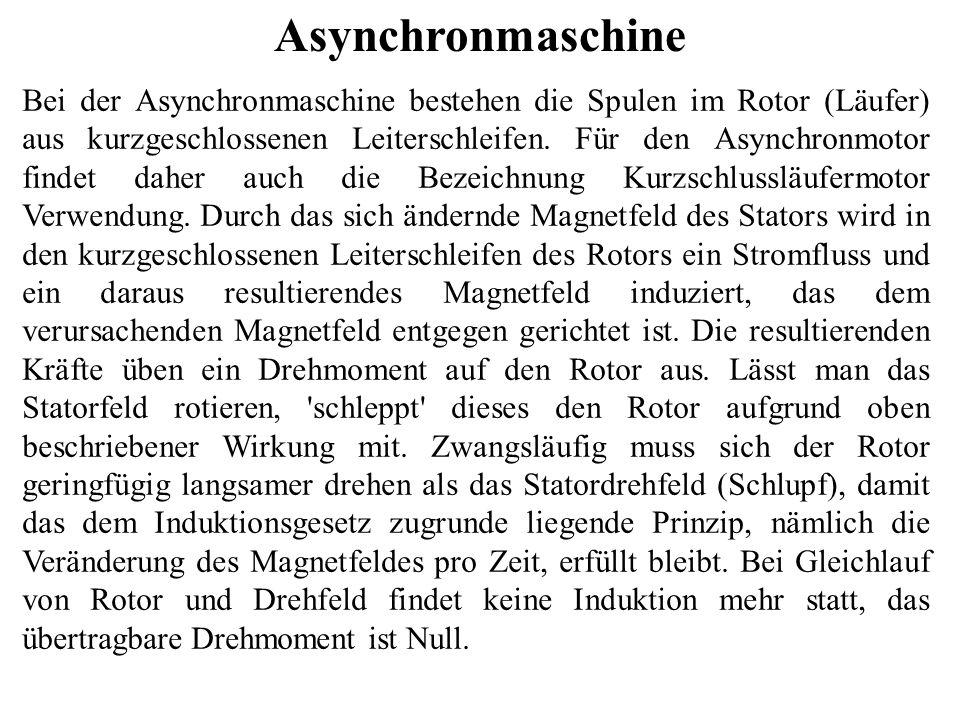 Asynchronmaschine Bei der Asynchronmaschine bestehen die Spulen im Rotor (Läufer) aus kurzgeschlossenen Leiterschleifen. Für den Asynchronmotor findet