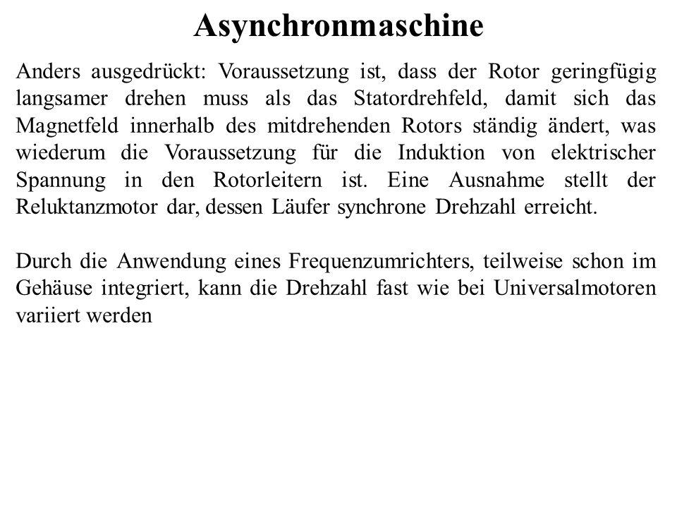 Asynchronmaschine Anders ausgedrückt: Voraussetzung ist, dass der Rotor geringfügig langsamer drehen muss als das Statordrehfeld, damit sich das Magne