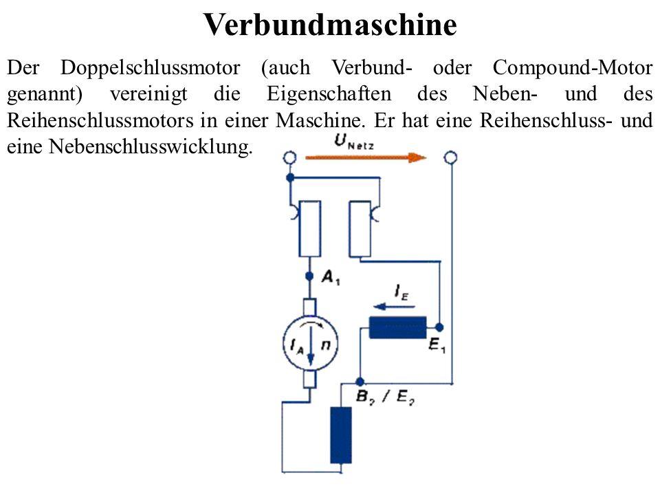 Verbundmaschine Der Doppelschlussmotor (auch Verbund- oder Compound-Motor genannt) vereinigt die Eigenschaften des Neben- und des Reihenschlussmotors