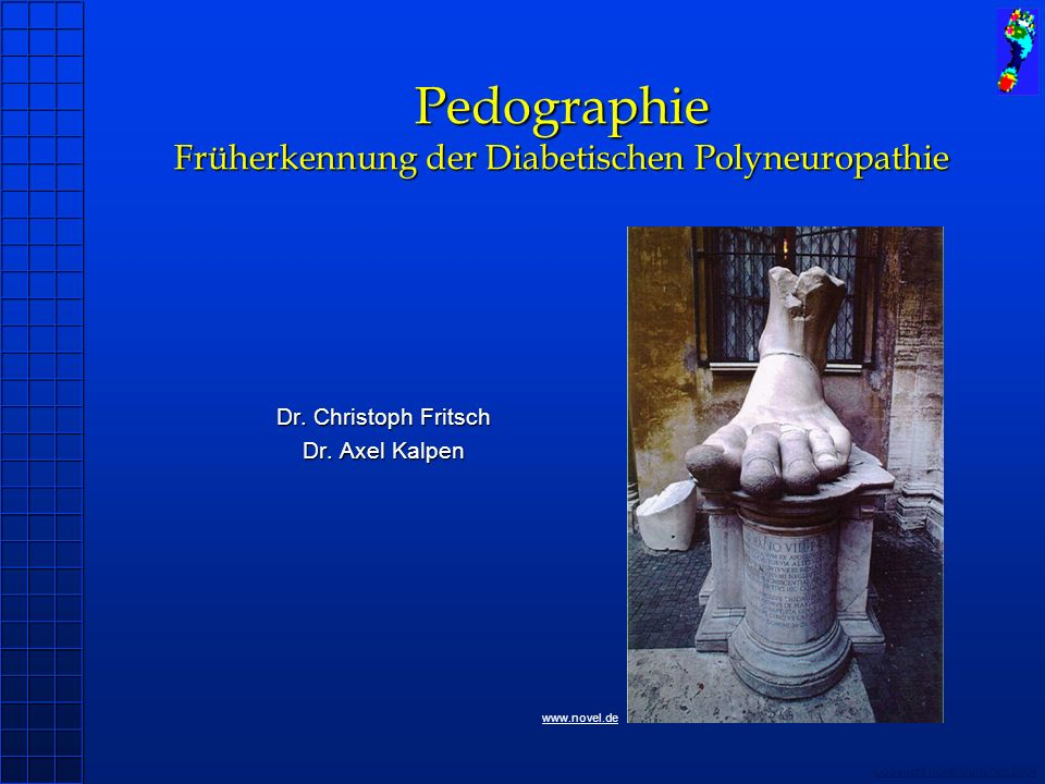 Copyright novel München 2004 Pedographie Früherkennung der Diabetischen Polyneuropathie Dr. Christoph Fritsch Dr. Axel Kalpen www.novel.de
