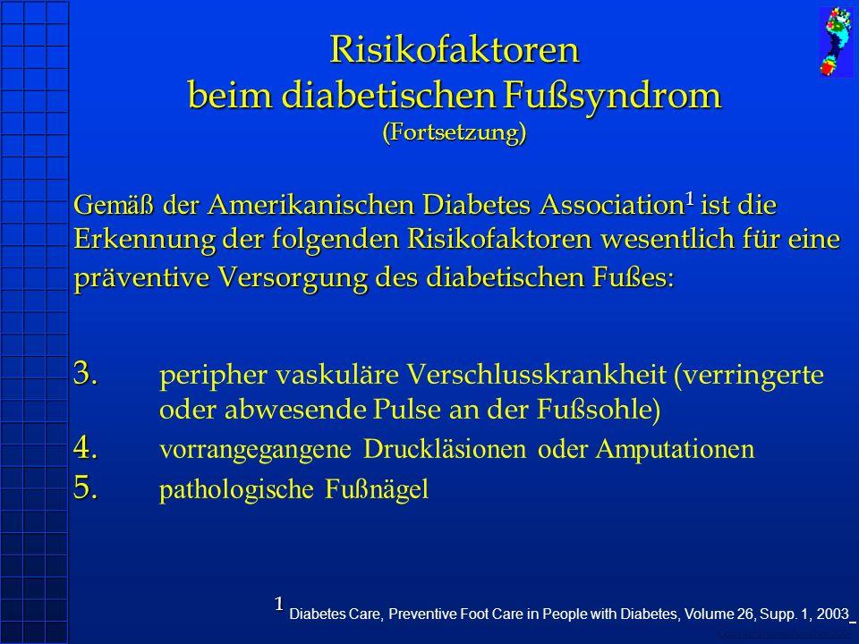 Copyright novel München 2004 3. 4. 5. 3. peripher vaskuläre Verschlusskrankheit (verringerte oder abwesende Pulse an der Fußsohle) 4. vorrangegangene