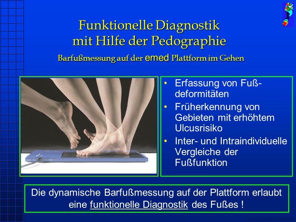 Copyright novel München 2004 Funktionelle Diagnostik mit Hilfe der Pedographie Barfußmessung auf der emed Plattform im Gehen Erfassung von Fuß- deform